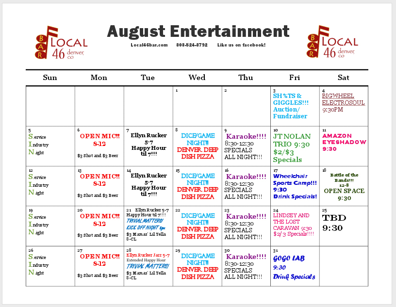 August Events - Local 46 Bar