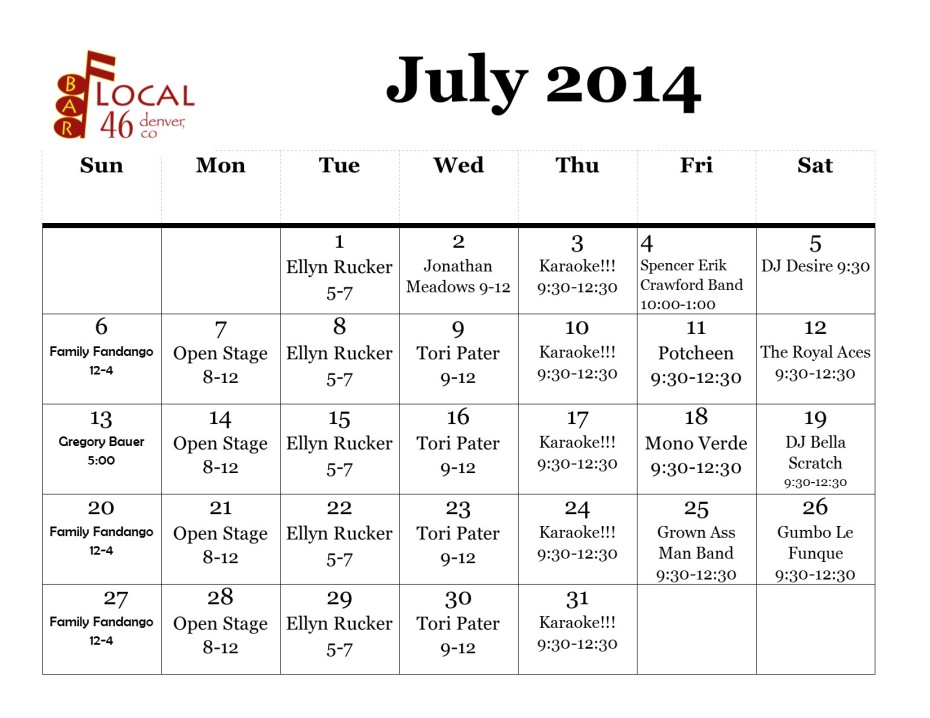 July entertainment for reals
